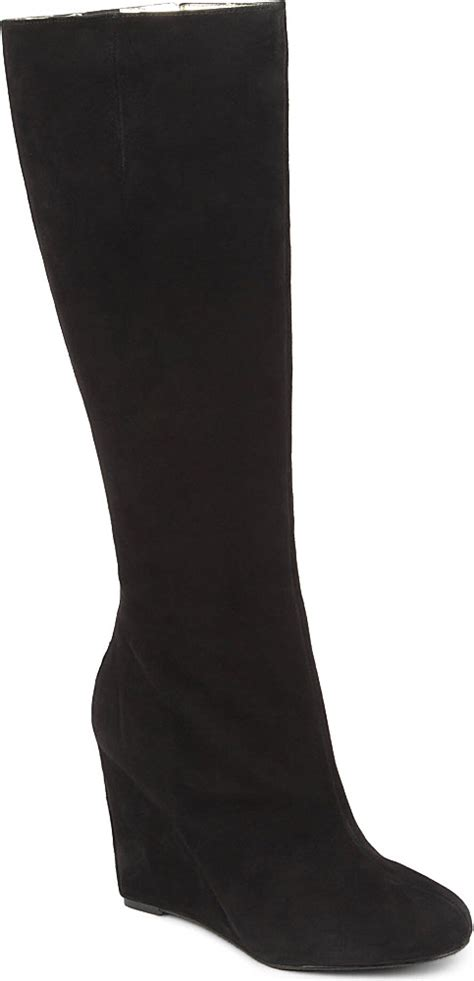 nine west wedge boots nine west ravvyn suede knee high wedge boots in black lyst
