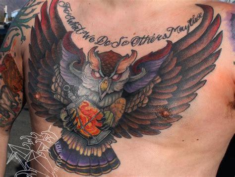 owl tattoo back piece owl lantern chest piece by christina walker tattoonow
