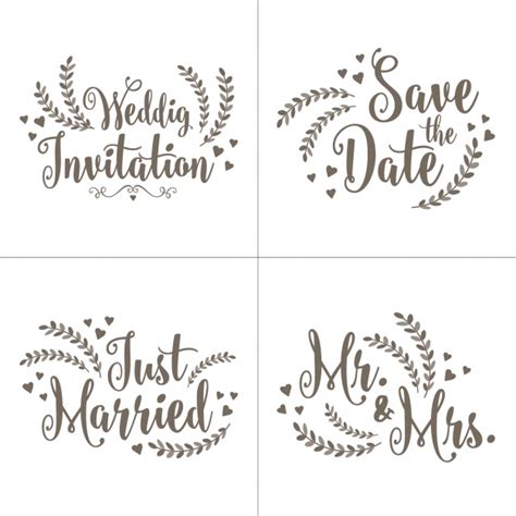 Wedding Invitation Letter Vector Wedding Invitation Letterings Set Vector Free