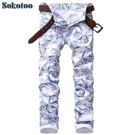 blue and white patterned jeans sokotoo men s fashion blue and white porcelain pattern