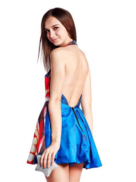 Halter Backless Dress backless dress blue floral halter popular tops 45 9800