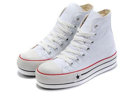 white classic platforms converse all high tops canvas