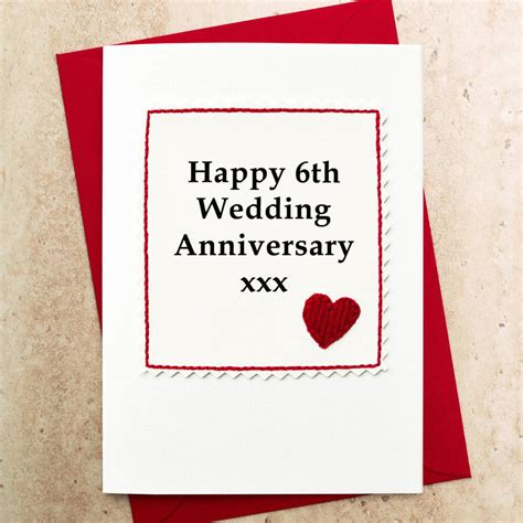 Wedding Anniversary Gift Card by Handmade 6th Wedding Anniversary Card By Arnott