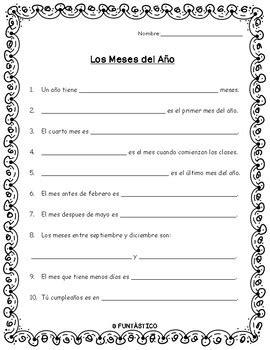 en el ano de los meses worksheet los meses del a 209 o worksheet by funtastico spanish