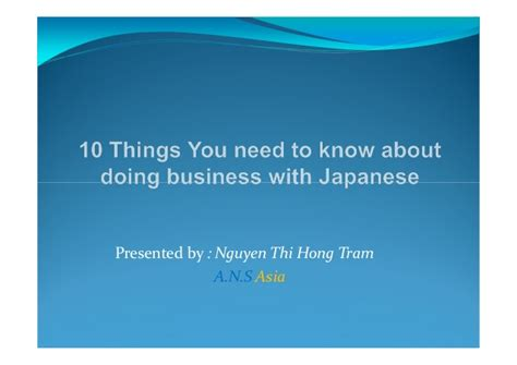 10 things you need to know about doing business with japanese