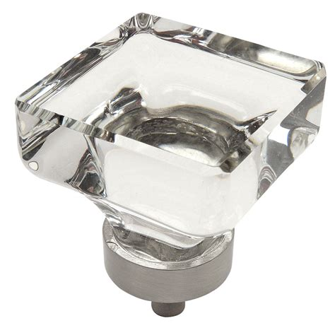 square cabinet knobs nickel cosmas 6377sn c satin nickel clear glass square cabinet knob