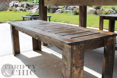 outdoor farm table with benches diy outdoor bench plans from thrifty chic gardening