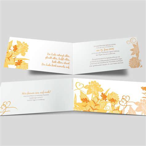 Hochzeitseinladung Orange by Hochzeitseinladung Florale Elemente In Orange