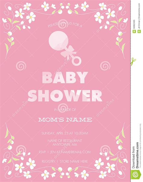 pink baby shower invitation templates pink baby shower invitation template with abstract flowers