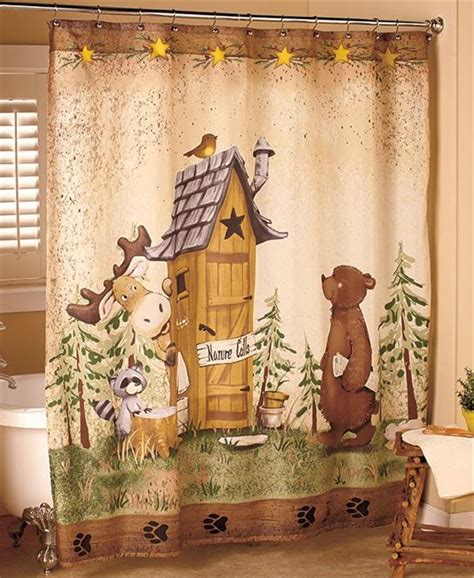 rustic bathroom shower curtains nature calls outhouse bear moose rustic cabin lodge