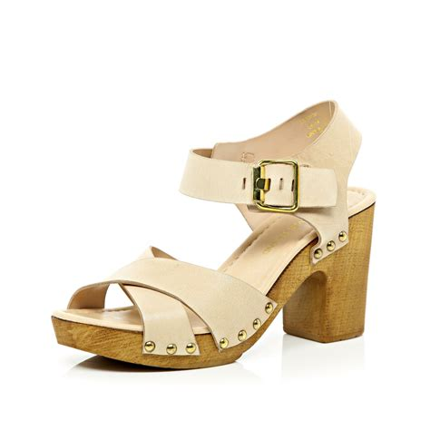wooden sandals river island light pink cross wooden heel sandals in