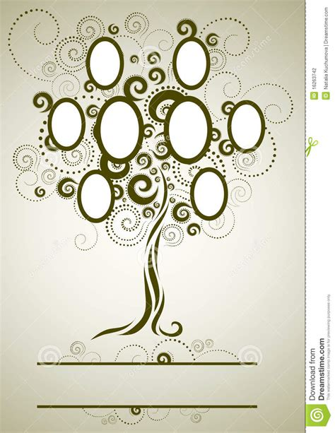 Vector Family Tree Design With Frames Stock Vector Illustration Of Composition Biography At Family Tree For Your Design
