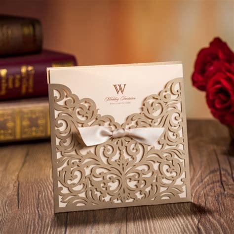 wishmade free shipping gold laser cut bow knot wedding invitations cards sale cw5011 in