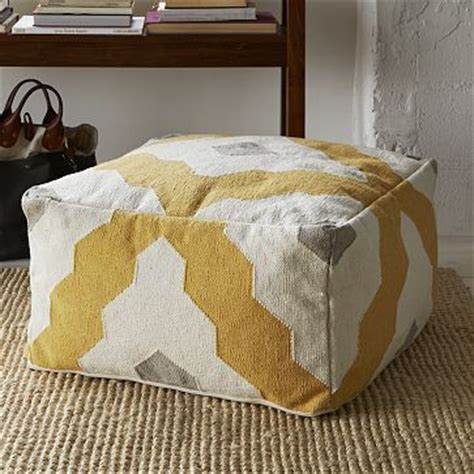 west elm ottoman tray yellow gray brown west elm living room