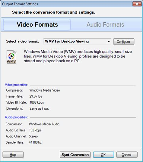 format audio mms digital media converter select conversion options