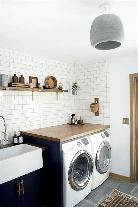 pass double duty laundry room designs for small spaces modern navy laundry room reveal vaskerum indretning og