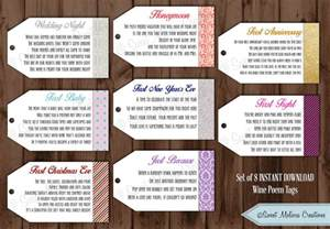 wedding shower gift wine poems instant 1st milestone wine tags poems digital file