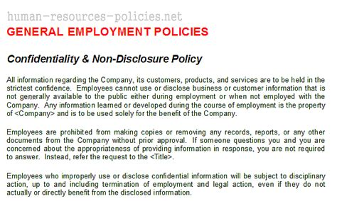 Sle Human Resources Policies Sle Procedures For Small Business Powered By Confidentiality Policy Template Free