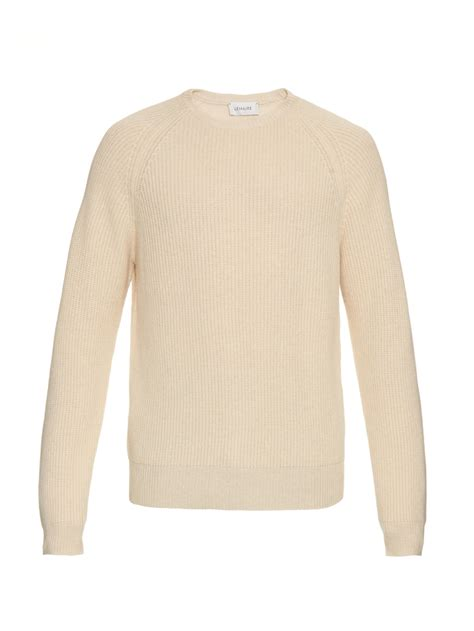 wool knit sweater lyst lemaire wool blend ribbed knit sweater in
