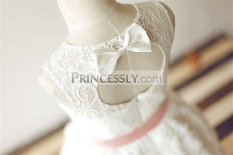 Dress Anak Pink Flower Belt Import keyhole back ivory lace rosette flower dress with pink sash
