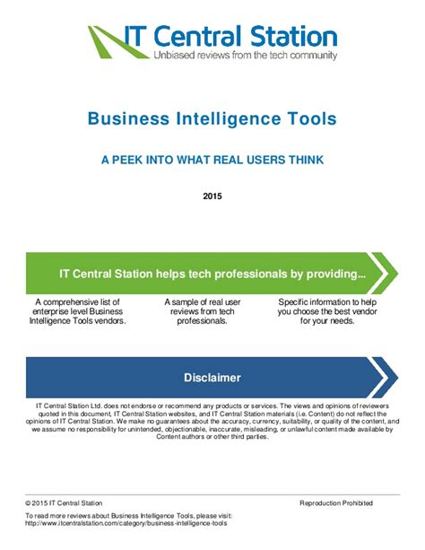 best business intelligence tools business intelligence tools report from it central station