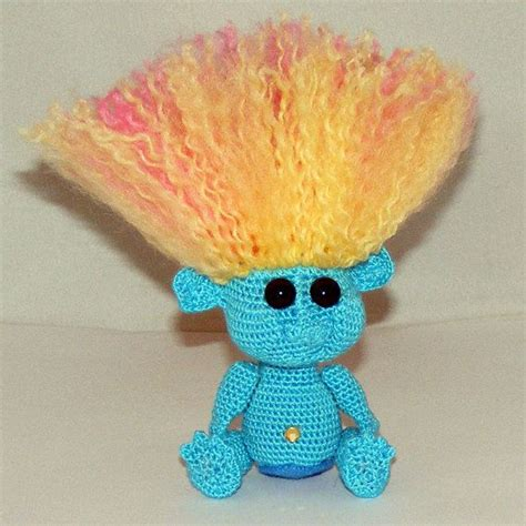 white hair pattern your choice crochet troll doll aqua w yellow pink hair