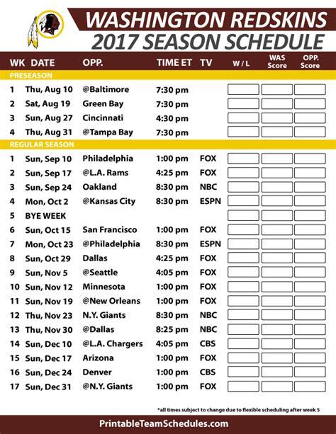 Calendario Washinton Washington Redskins Football Schedule 2017 Nfl Football