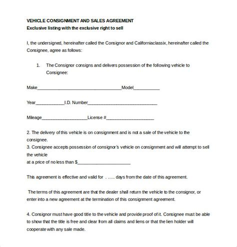 Agreement Letter For Dealership Consignment Agreement Template 12 Free Word Pdf Document Free Premium Templates