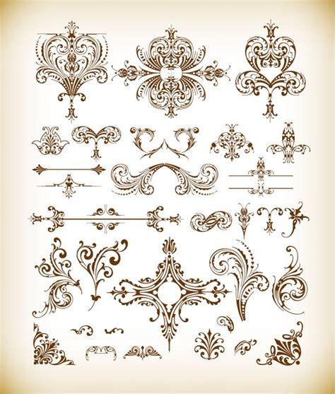 floral design elements vector set vector set of vintage floral elements free vector