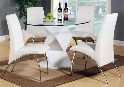modern white high gloss clear glass dining table 4