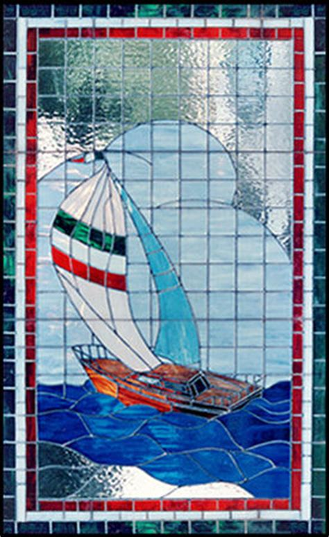 Sailboat Windows Designs Boat Stained Leaded Glass Sailboat Window Custom Glass Design