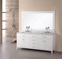 Double sink vanity set in pearl white finish bathroom vanities
