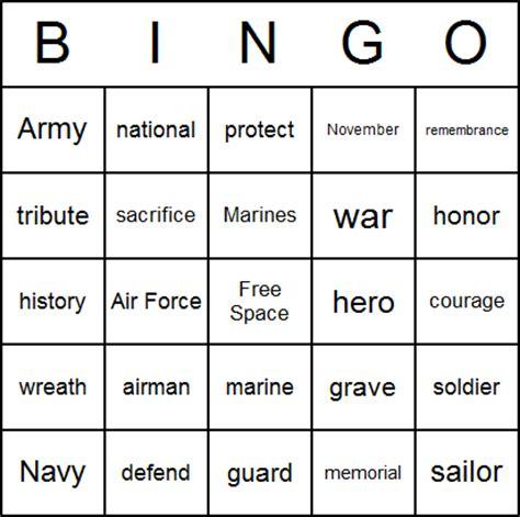 Printable Veterans Day Bingo Cards | download veterans day bingo card printables free