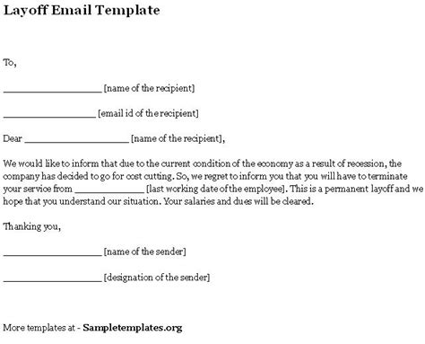 layoff letter template email template of layoff format of layoff email template