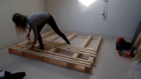 pallet bed frame diy youtube
