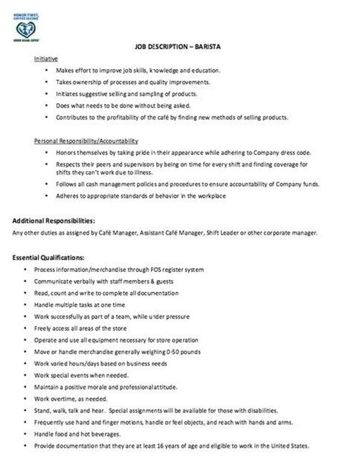 resume templates for a barista barista resume job description http jobresumesle