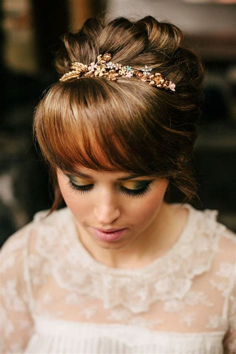 Wedding Hair Up With Fringe by 15 Gorgeous Bridal Hair With Bangs Pretty Designs