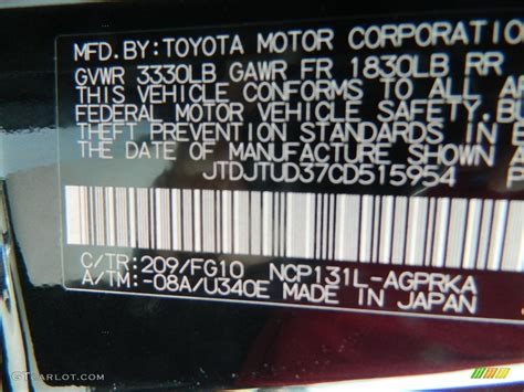 2012 toyota yaris l 3 door color code photos gtcarlot