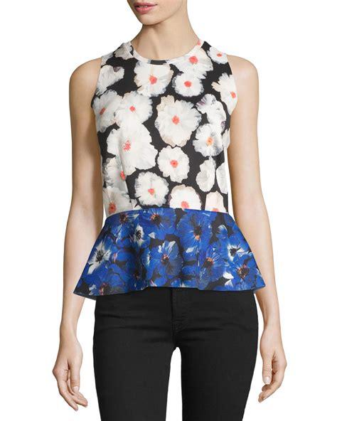 Floral Peplum Blouse Dress Atasan Wanita philosophy floral print peplum blouse lyst