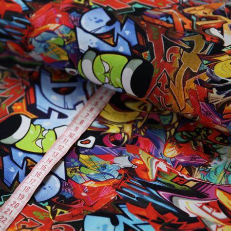 Digitaldruck Jerseystoffe by Jersey Stoff Graffiti Bunt Digitaldruck G 252 Nstig Kaufen