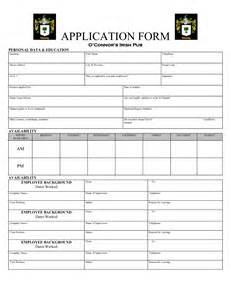 Restaurant Application Form Template restaurant application form template