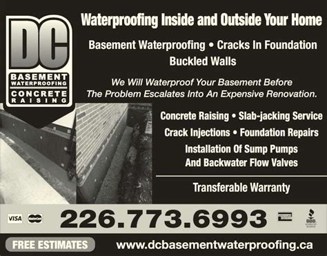 dc basement waterproofing concrete raising on