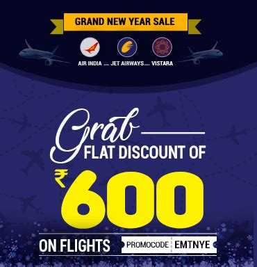 new year airfare sale grand new year sale with flat 600 rs on flights