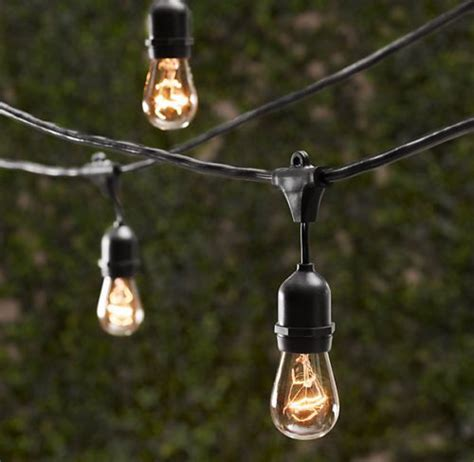 Vintage Patio String Lights Vintage Patio Globe String Lights Black Cord Clear Bulbs 50