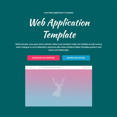 Free Bootstrap 4 Template 2018 Bootstrap Web Application Template Free