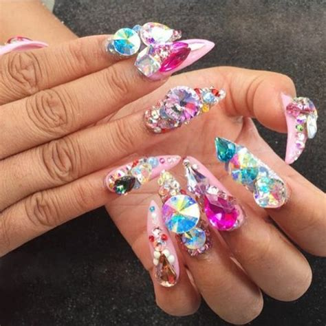 cardi b pink jewels nail art stones studs nails steal