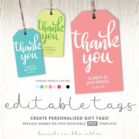thank you gift tag template tags printable party favor tags