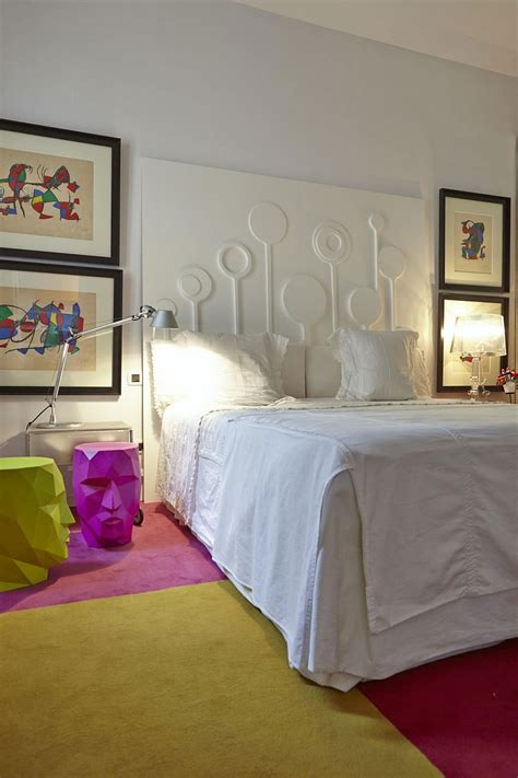 unique bedroom wall art eclectic decor and vivacious color shape cheerful home in