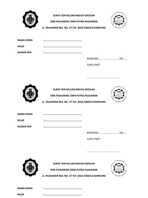surat izin keluar masuk sekolah