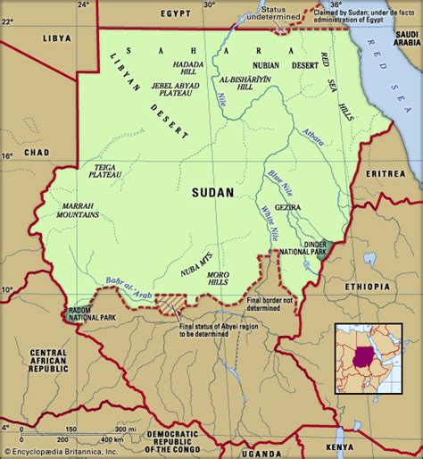 map of sudan sudan physical features map encyclopedia children s homework help